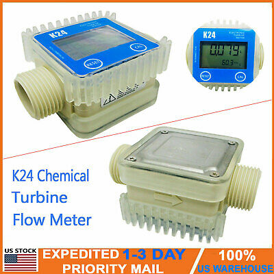 Pro K24 Lcd Turbine Digital Diesel Fuel Flow Meter For Chemicals Water Blue Usa