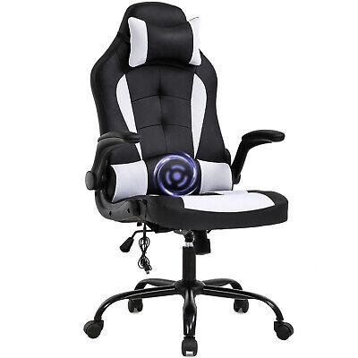 PC Gaming Chair Massage Office Chair Racing Chair W/ Lumbar Headrest Armrest