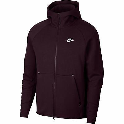 Nike Burgundy Ash Sportswear Tech Fleece Full Zip Hoodie Sweatshirt Ash Full Zip Hoody Sweatshirt