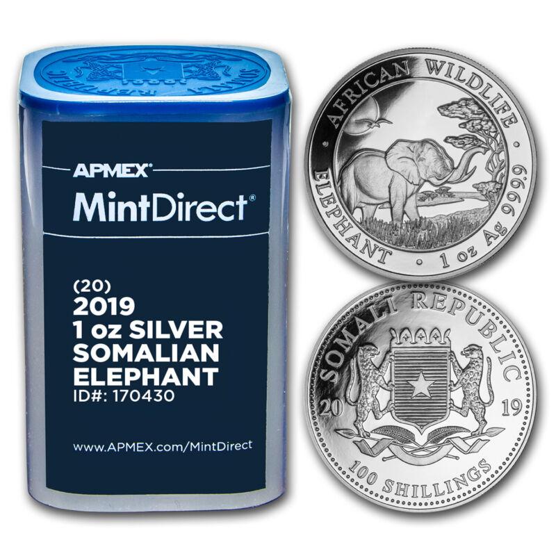 2019 Somalia 1 oz Silver Elephant (20-Coin MintDirect® Tube) - SKU#170430