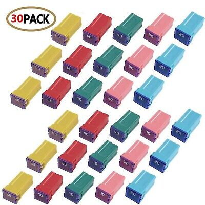 30 pc Automotive TALL/STANDARD PROFILE JCASE Box Shaped Fuse Kit for Ford, Ch...