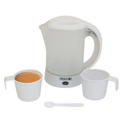 VOCHE® 650W GLOSS WHITE 600ML TRAVEL KETTLE WITH 2 CUPS + SPOON WATER LEVEL LINE