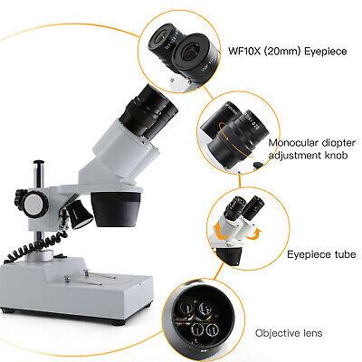 Swift 20x-40x Binocular Stereo Multi-use Inspection Microscope Widefield Led