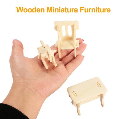 Mini 3D Wooden Puzzle DIY 34 Pcs Miniature 1:12 Dollhouse Furniture For Doll US