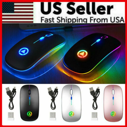 2.4GHz Wireless Optical Mouse USB Rechargeable RGB Cordless Mice PC Laptop PROMO
