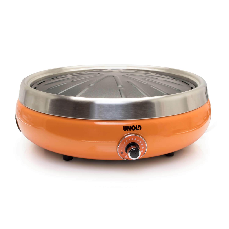 Unold 58543 Asia Elektro Tisch Grill orange Kochplatte Garten Balkon BBQ low fat