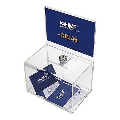 HMF Urna, Hucha, Caja de Dinero, Formato A6, Cerradura de Cilindro, Acrílico