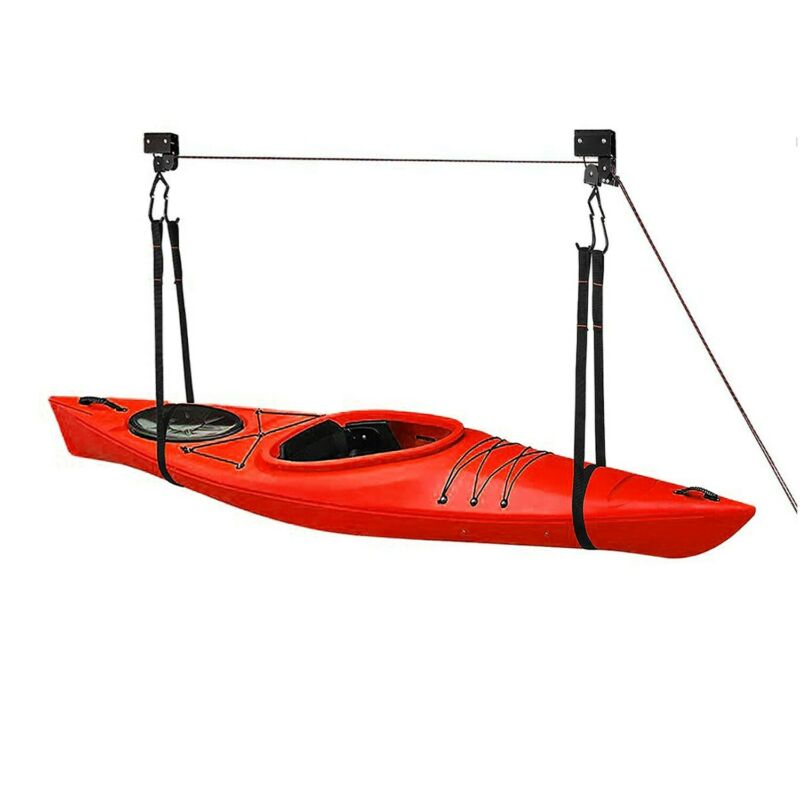 Great Working Tools Hanging Kayak Canoe Hoist Lift, 2 Pulley System - 125 lb Cap