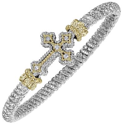 Vahan Cross Bracelet | Sterling Silver & 14K Gold | 0.10cts Diamonds | 4mm Width