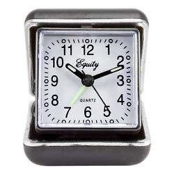 20080 Equity by La Crosse Quartz Folding Travel Alarm Clock with Silver Trim