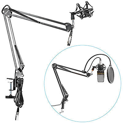 Suspension Shock Mount - Neewer Microphone Suspension Boom Arm Stand w/ Shock Mount for Broadcast Studio
