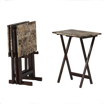 Faux Marble Tray Table Set 5pc Brown Stand TV Snack Dining Folding Furniture New ()