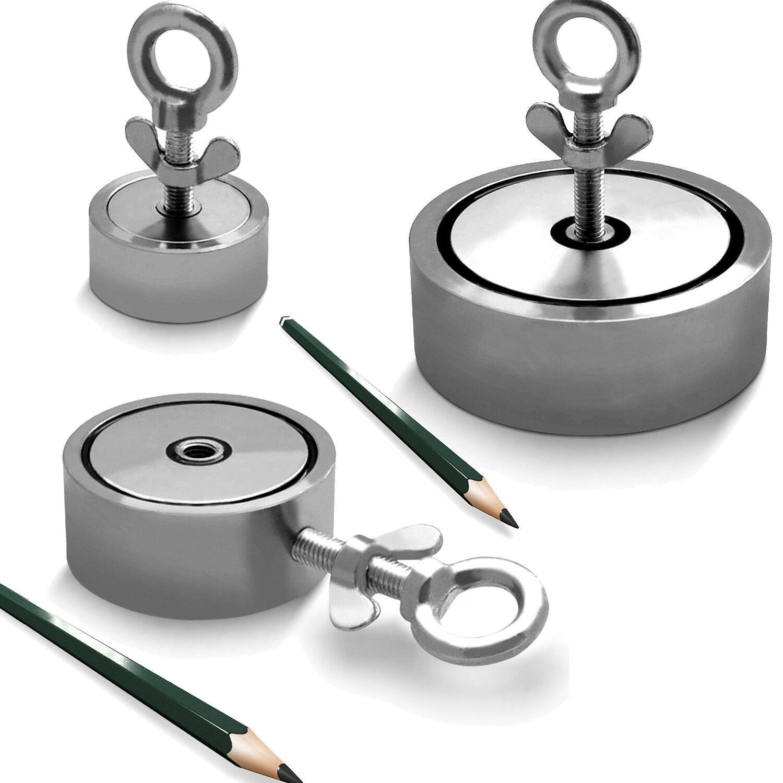 Neodym-Suchmagnet Bergemagnet bis 900KG 2 Bohrungen N45 vernickelt Magnetangeln