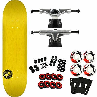 "Powell Mini Logo Skateboard Chevron 12 K16 Yellow 7.5"" Raw Trucks White Wheels"