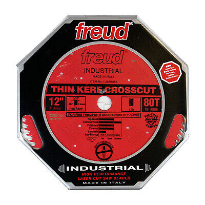 Freud LU88R012 Industrial 12-inch 80T ATB Thin Kerf Fine Crosscut Saw Blade Fine Cross Cut Circular Saw