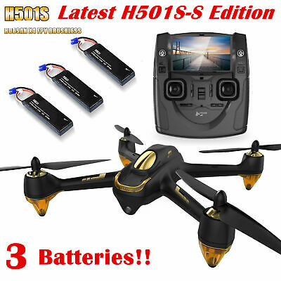 Hubsan H501S S 5.8G FPV Brushless Drone 1080P GPS Quacopter,SS Edition+3Battery