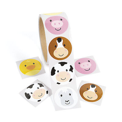 100 Farm ZOO Animal Face Stickers Birthday Party Favors PIG COW HORSE CHICKS