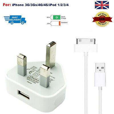 Genuine CE Plug Cable Charger Lead For Apple iPhone 4,4S,3GS,iPod,