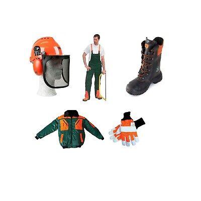 5er Cut Protection Set Forest Helmet Oregon, Pants Pilot Lederstief