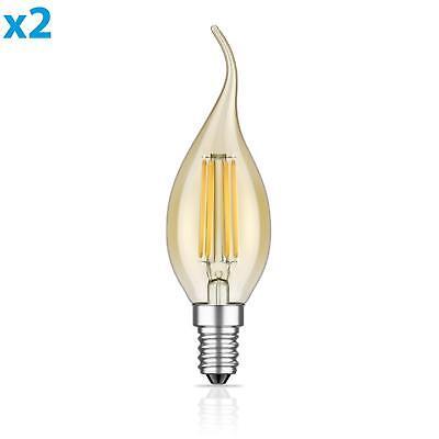 Warm Amber Glas (E14 LED Lampe mit Flamme Glühfaden Vintage amber 4W =35W 380lm extra-warm-weiß a)