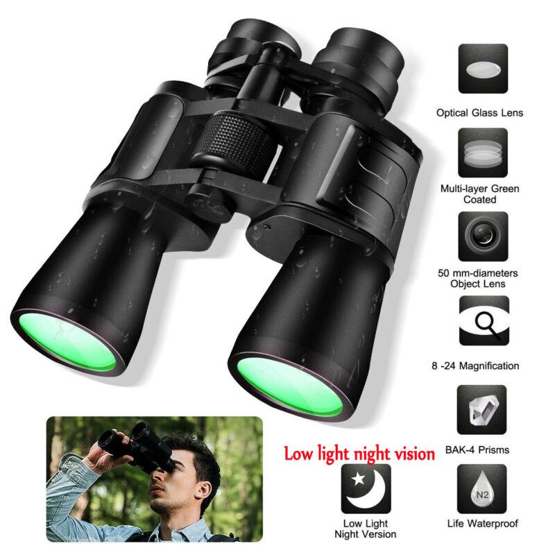 180x100 Military Zoom Powerful Binoculars Day/Low Night Optics Hunting with Case