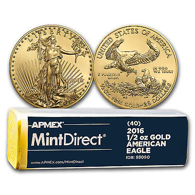 Click now to see the BUY IT NOW Price! 2016 1/2 OZ GOLD AMERICAN EAGLE 40 COIN MINTDIRECT TUBE   SKU 93090