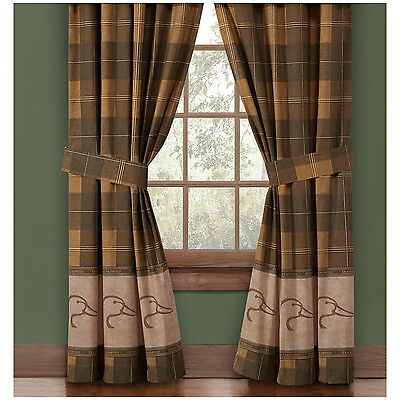 (Ducks Unlimited Plaid Lined Curtains Drapes Office Bed Duckhead Logo 42