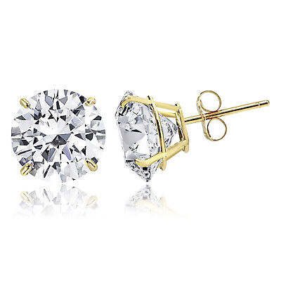 14K Solid Gold Round Solitaire Cut Cubic Zirconia Basket Push Back Stud Earrings