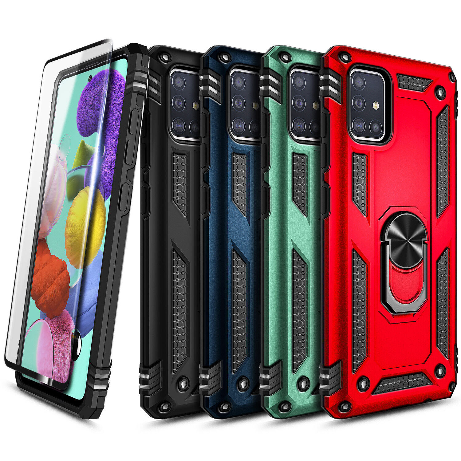 Red A71 5G Ring Holder Case Compatible with Samsung Galaxy A 71 5G Phone Cases GalaxyA71 5G Kickstand Magnetic Car Mount Cover Heavy Duty Back Bumper 6.7 inch