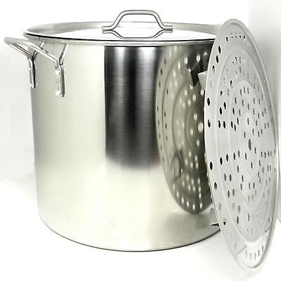 100 Quart Stock Pot - Prime Pacific 100 Quart Heavy Duty Stainless Steel Stock Pot and Steamer Tray