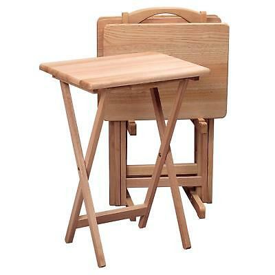 5pc Wooden Snack Table Set Natural Folding TV Dinner Tray Sofa Side Beech Stand ()