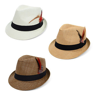 Spring/Summer Woven Fedora Hat with Feather - 3 Options Available (Felt Hat With Feather)