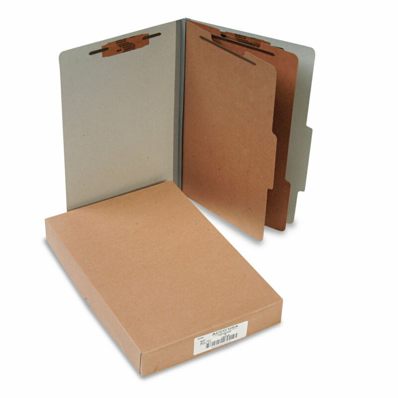 Acco Pressboard 25-Pt Classification Folders Legal 6-Section Mist Gray 10/Box
