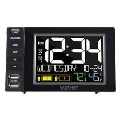 317-1909 La Crosse Technology Digital Dual Alarm Clock with 2 USB Charging Ports