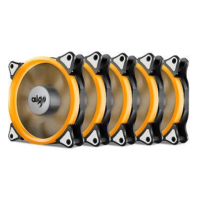 5x Aigo  Orange Halo LED 120mm PC CPU Computer Case Cooling Neon Clear Fan Mod Orange Case Fan