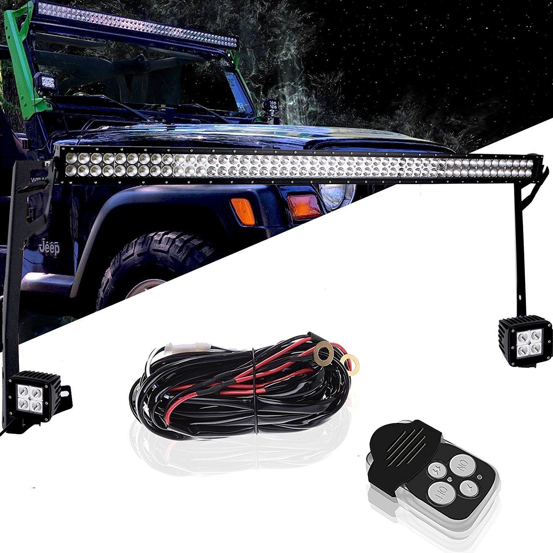 "52/"" Work Light Bar+4/'/'Cube Pod+Mount Bracket+Wire Kit For 97-06 Jeep Wrangler TJ"