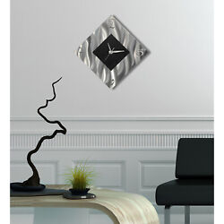 Statements2000 Modern Metal Wall Clock Art Silver Black Abstract Decor Jon Allen