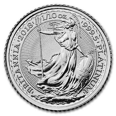2018 Great Britain 1/10 oz Platinum Britannia BU - SKU#163705