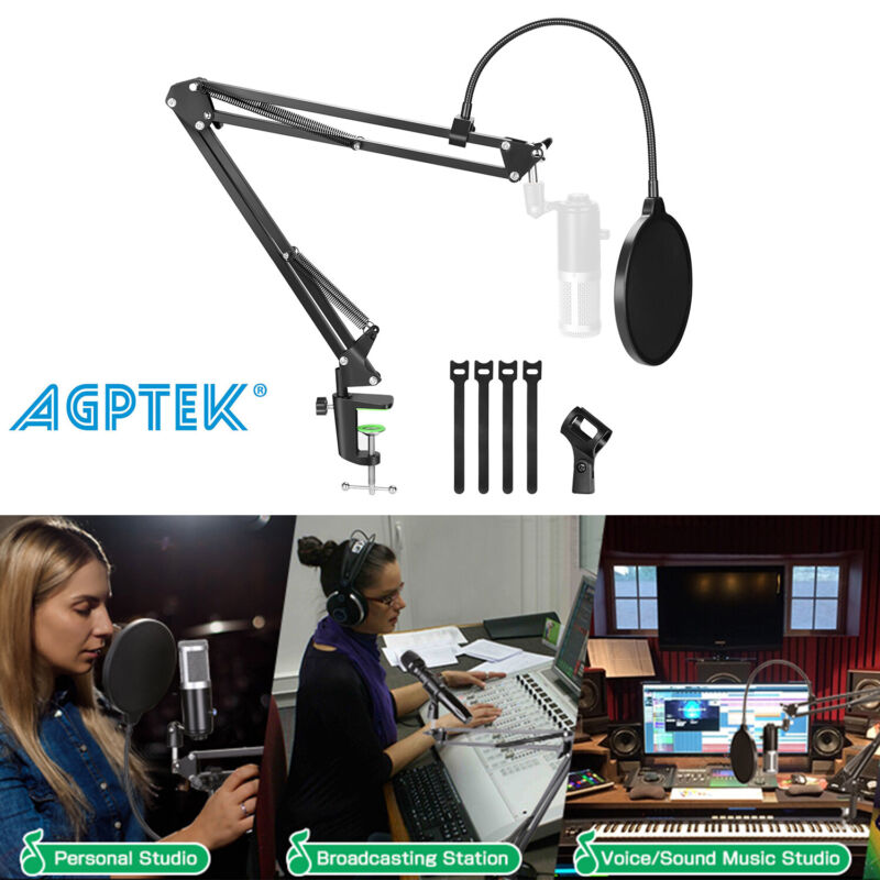 For Blue Yeti Snowball Microphone Desk Arm Stand Mount Boom Pop Filter Holder