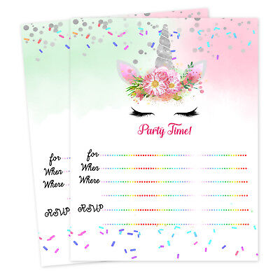 Unicorn Birthday Party Invitations Baby Shower Girl Invitation Unicorn Theme - Girl Birthday Invitations