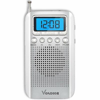 Digital AM FM Portable Pocket Radio with Alarm Clock- Best Reception and Long...