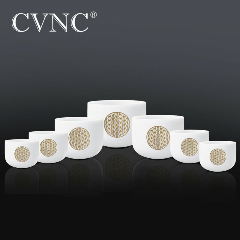 "CVNC 6""-12"" 7 Pcs Flower of Life Chakra Set Quartz Crystal Singing Bowl Mallet"