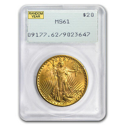 $20 Saint-Gaudens Gold Double Eagle MS-61 Vintage PCGS Slab