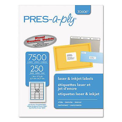 Pres-a-ply Laser Address Labels 1 X 2 58 White 7500box 30606