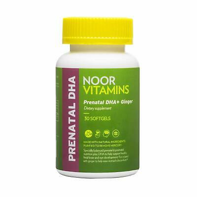 NoorVitamins Prenatal DHA + GINGER Softgels Natural Supplement - 30 Count Halal