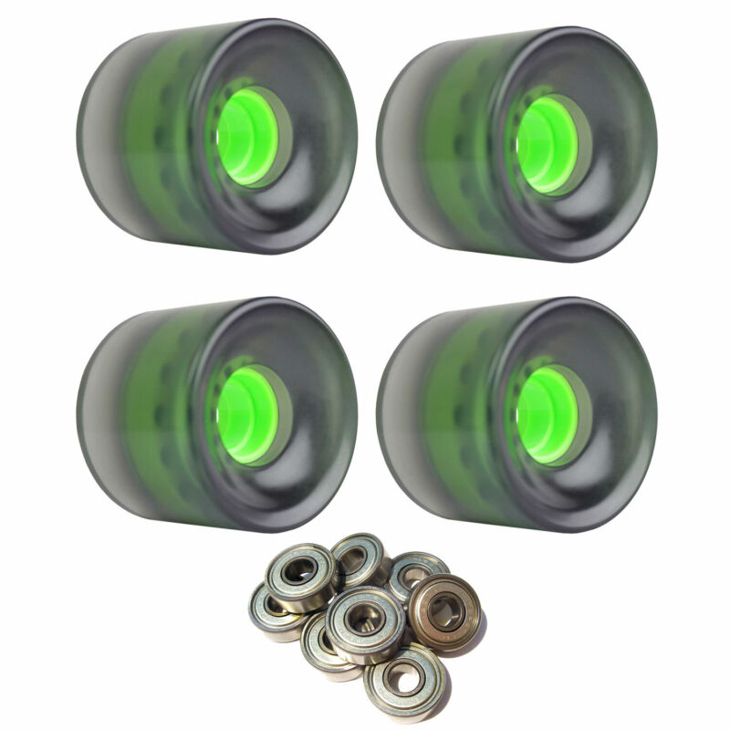 LONGBOARD CRUISER WHEELS 62mm x 51.5mm 83A Black C clear ABEC 7 BEARINGS