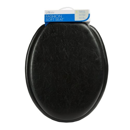 Ginsey Cushioned Elongated Padded Toilet Seat in Black - Elongated Oval Seat