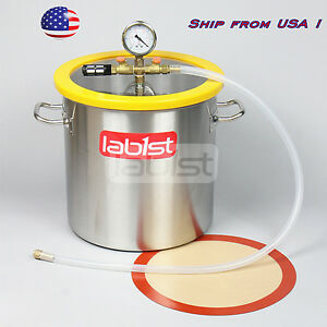 VC30S, 5 Gallon (5.5 Gal) Stainless Steel Vacuum Degassing Chamber Ship from USA