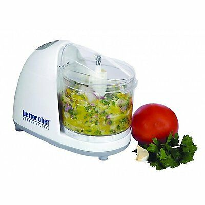 New Better Chef 1 1/2 Cup Mini Food Veggie Chopper Saftey Lock white