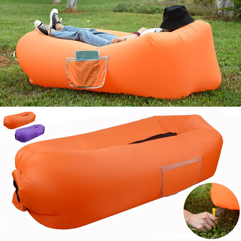 Inflatable Lounger Air Sofa Hammock-Portable WaterProof For Traveling Camping